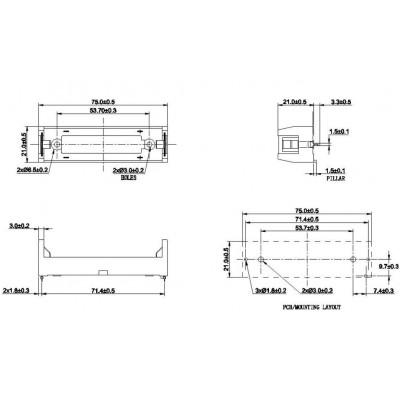 Batteriehalter Printmontage 1x 18650   Elektronik für jedermann