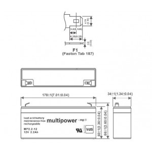 Multipower MP2,2-12 Bleiakku 12V 2,2Ah