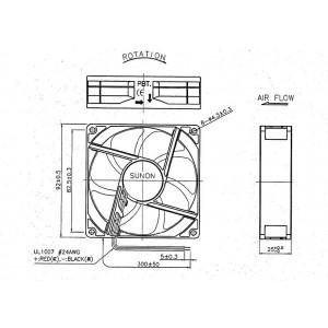 Sunon DC-Axial-Gerätelüfter 12VDC 92x92x25mm