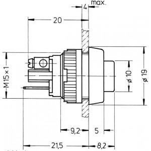 RAFI Drucktaster 15,2mm Schraubanschluss 1xEin rt