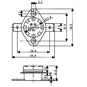 Bimetallschalter Öffner 160°C/130°C 250V 10A