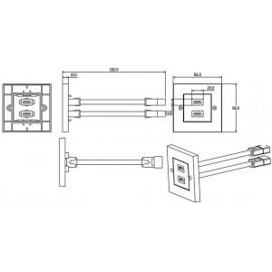 LogiLink® HDMI-Wanddose 2x HDMI-Buchse