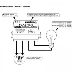 Kemo® M114N Modul Blinker langsam 110- 240V mit einstellbarer Blinkfolge