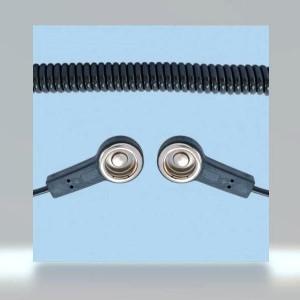 BJZ-Erdungskabel Spiralkabel 2x Druckknopf 10,3mm