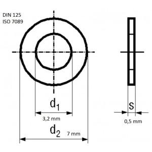 Bossard Unterlegscheibe rund M3 Ø7mm H0,5mm DIN125A BN670 A2 ISO7089