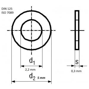 Bossard Unterlegscheibe rund M2 Ø5mm H0,3mm DIN125A BN671 A4 ISO7089