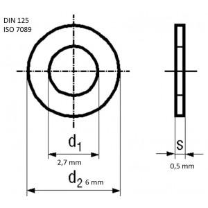 Bossard Unterlegscheibe rund M2,5 Ø6mm H0,5mm DIN125A BN671 A4 ISO7089