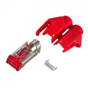HRS Cat.6 Hirose RJ45 Steckerset 250MHz 6,6mm rot