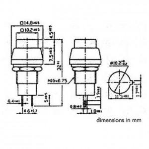 Druckschalter quadratisch aus-ein silber DS-457