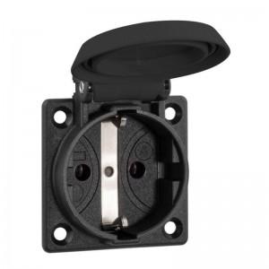 ABL SCHUKO Einbausteckdose, schwarz, IP54, mit Schraubanschluss