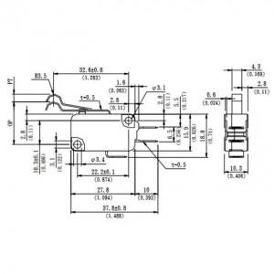 ECE Mikroschalter 16A/250VAC 3,92N 0,6A/125VDC Hebelbogen