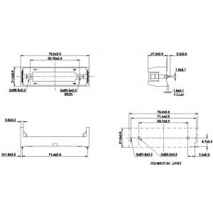 COMF BHC-18650-1P Batteriehalter Printmontage für 18650
