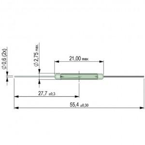 Standex-Meder KSK-1A52 Reed-Schalter 21x2,75mm Reedkontakt 1xA 0,5A 50W 40-50AT