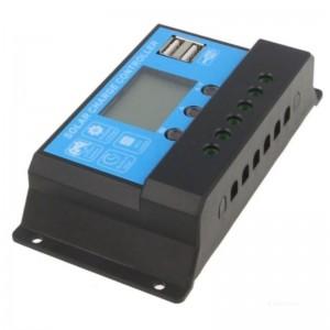 Solarladeregler SLR12/24V-10A LCD 2x USB Port 5V
