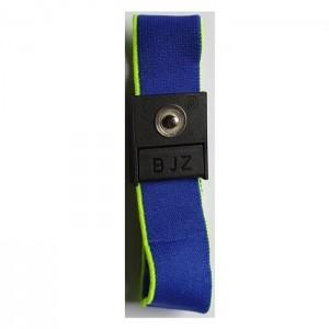 BJZ-Textilerdungsarmband, blau, einstellbar mit eingenähtem ESD-Logo
