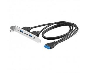 SLOT-Blende 2xUSB3.0 A-Buchse USB3.0 20-PIN Stecker 0,6m