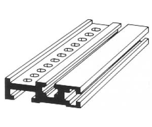 856  Aluminiumprofil 20,8cm gelocht eloxiert für 19-Zoll-Gehäuse