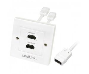 LogiLink® HDMI-Wanddose 2x HDMI-Buchse HDMI-Wanddose2