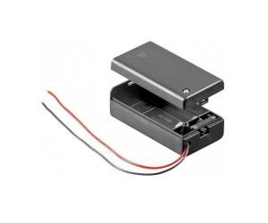 Batteriehalter geschlossen für 1x 9V-Block schaltbar wasserabweisend Kabel