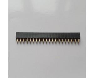 MPE GARRY Buchsenleisten 20polig einreihig, vergoldet, Bauhöhe 4,3mm, Rastermaß 2mm