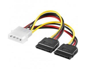 S-ATA Stromversorgungskabel 4pol. Stecker auf 2x S-ATA