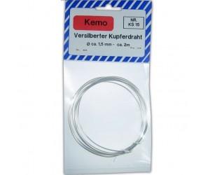 Kemo KS015 Versilberter Kupferdraht Ø ca. 1,5 mm, Länge 2m