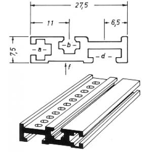 854 Aluminiumprofil 1m ungelocht eloxiert für 19-Zoll-Gehäuse