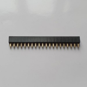MPE GARRY Buchsenleisten 20polig einreihig, vergoldet, Bauhöhe 5mm, Rastermaß 2,54mm