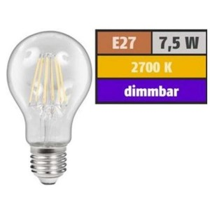 LED Filament Glühfaden Birne 7,5 Watt warmweiß dimmbar E27