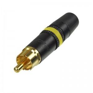 NYS373-4 Rean vergoldeter Cinch-Stecker mit gelber Markierung