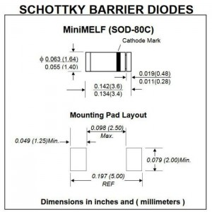 Zeichnung LL42 Schottky-Barrier-Diode 30V 0,2A 200mW 5ns MiniMELF (SOD-80C)