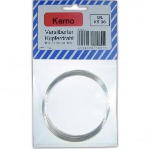 Kemo KS006 Versilberter Kupferdraht Ø ca. 0,6 mm, Länge 10m