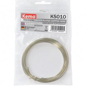 Kemo KS010 Versilberter Kupferdraht Ø ca. 1,0 mm, Länge 5m
