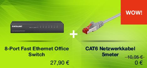 Angebot 8-Port Fast Ethernet + CAT6 Kabel 5m FES-8100 + CK-CAT6/5